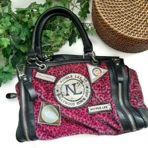 Nicole Lee purple leopard print furry fun satchel